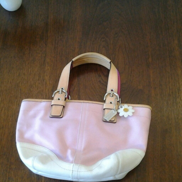 Coach Handbags - Coach Pink & White Small Tote